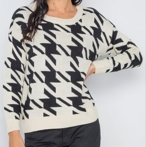 Geo Print Color Block Knit Sweater